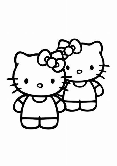 Kitty Hello Coloring Pages Friends Printable Skydiving