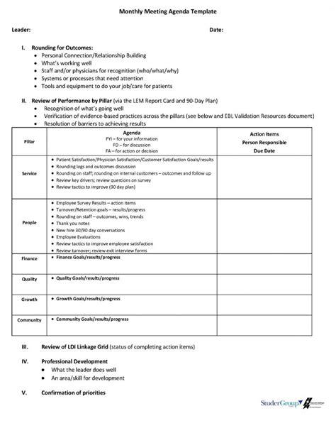 blank monthly meeting agenda sample  format