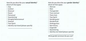 Standardized Intake Form Questions Regarding Gender And
