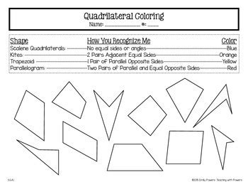 Coloring Quadrilaterals by Quadrilateral Coloring Page By Teaching With Powers Tpt