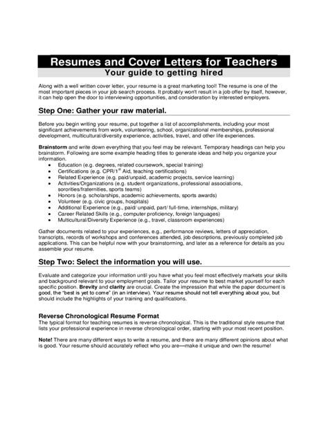 The Chronological Resume Lists The Following by Cover Letter Exles 4 Free Templates In Pdf