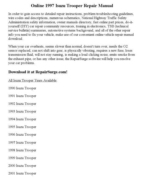 service and repair manuals 1997 isuzu trooper auto manual 1997 isuzu trooper repair manual online by calvin mccray issuu
