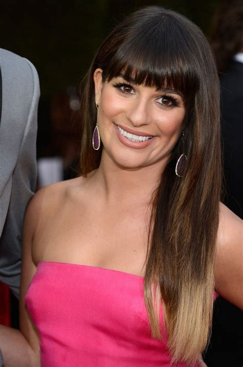 lea michele long straight ombre hair  blunt bangs