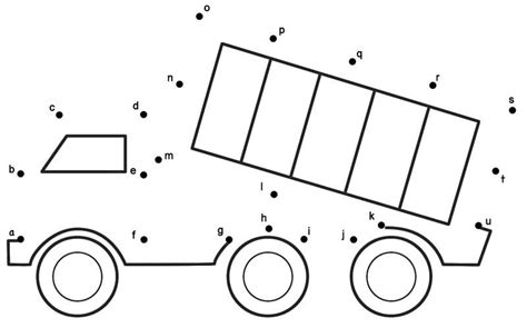 dump truck connect  dots print  drawing  images