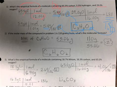 47 percent composition and molecular formula worksheet