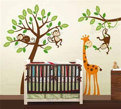 jungle tree with monkeys and giraffe wall decal wall