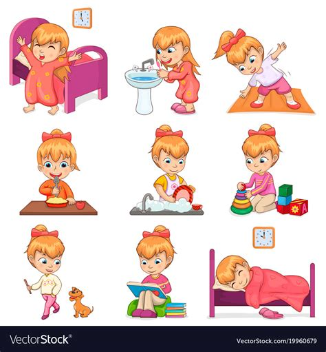 girl  daily routine set royalty  vector image