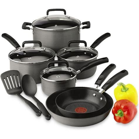 cookware anodized hard piece aluminum non stick pans signature fry saute fal kitchen nonstick pots cooking pot skillet cook tfal