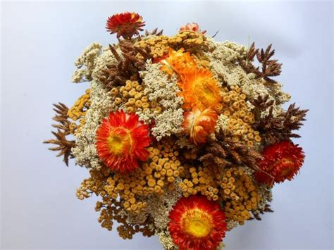 Dry Flowers Decoration For Home: Dried Flower Bouquet Fall Colors Wedding Flowers Dried