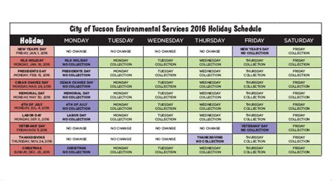 holiday schedule template    word documents