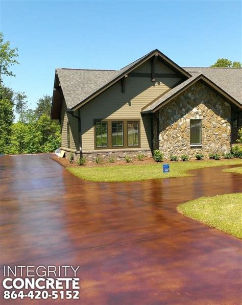 acid stained concrete driveway traditional landscape charlotte by integrity concrete llc