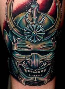 Terrible japanese warrior mask tattoo - Tattooimages.biz