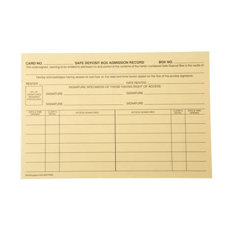 safe deposit box access forms safe deposit access cards