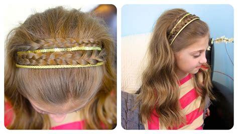 double braid sparkly headband cute girls hairstyles