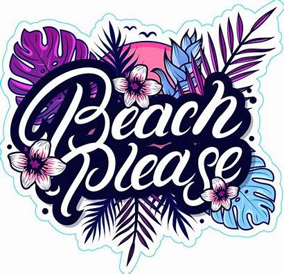 Beach Sticker Please Palm Tropical Stickers Leaves