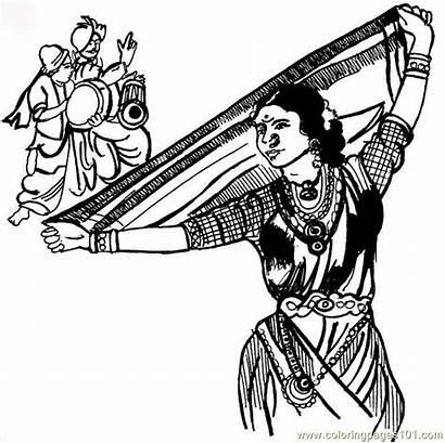Dance Lavani Classical Coloring Dancing Maharashtra Pages