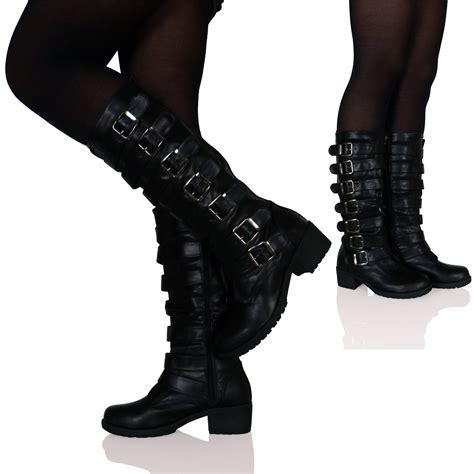 womens biker boots womens ladies low block heels flats buckles gothic punk