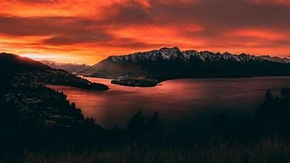 Sunset Mountains Lake Zealand Wallpapers Mountain Sky