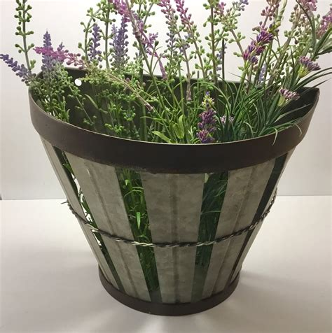 Galvanized decorative buckets and containers. Galvanized Wall Bucket | Metal Wall Basket | Galvanized Wall Planter | Farmhouse Wall Decor ...