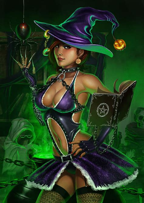 halloween sexy witch fantasy witches cartoon magic dance chicas wicked caricatura wicca sombras noite afbeelding bruxa witchy horror queen fire