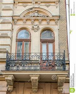 Old Vintage Retro Balcony With Columns And Ornaments On An ...