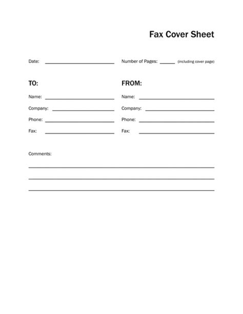 Fax Template Printable Fax Cover Sheet Letter Template