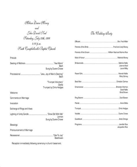 wedding program templates  sample