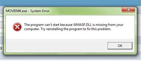 the program can t start because wmasf dll is missing