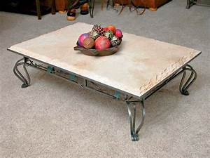 Stone coffee table for perfect living room traba homes for Metal coffee table with stone top