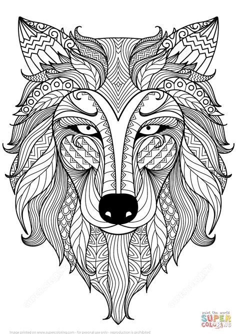 wolf zentangle coloring page  printable coloring pages