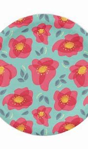 Spring Floral Pattern With Bright Pink Petals Paper Plate ...