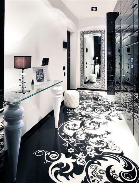 black and white home interior black and white graphic decor