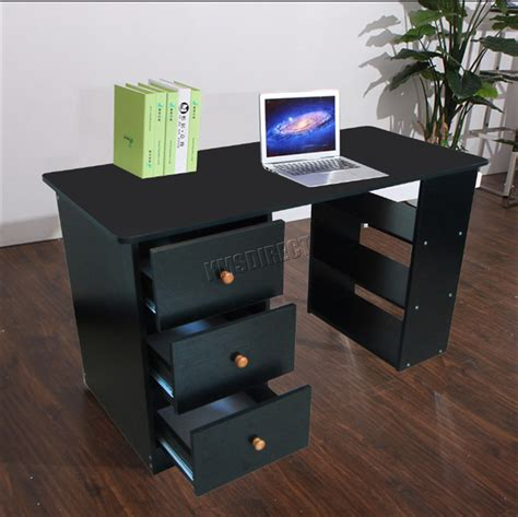 black computer desk with drawers foxhunter computer desk with 3 drawers 3 shelves pc table