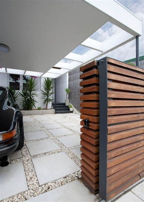 wooden gate   modern carport   moder house