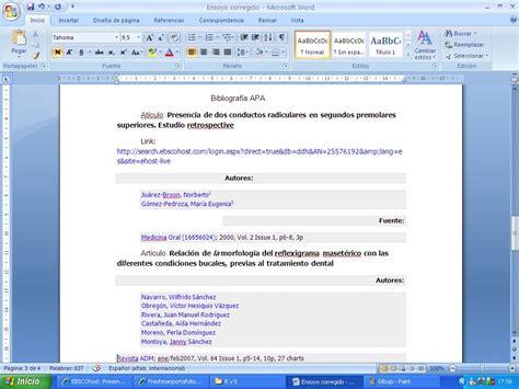 Normas Apa 2014 Para Resumen by Ejemplo De Ensayo Con Normas Apa 6