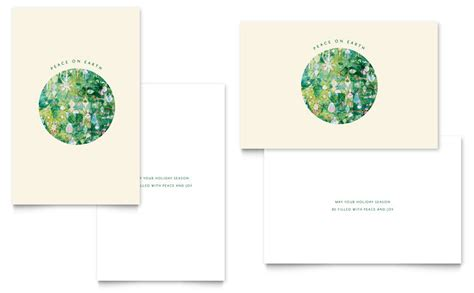 peace  earth greeting card template word publisher