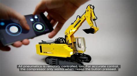 lego technic rc liebherr  pneumatic excavator youtube