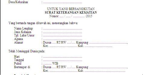 contoh surat keterangan kematian  kelurahan kumpulan