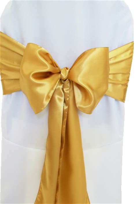 gold satin chair sashes bows ties wholesale