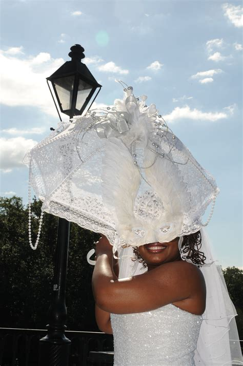 wedding second line umbrella with mardi gras mask by all