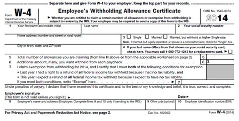 Federal W-4 Worksheet To Calculate Your Withholdings