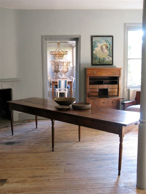 large  cent french farmhouse antique dining table  elm furniture