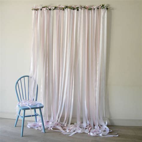 ready to hang ribbon curtain backdrop baby pink by just
