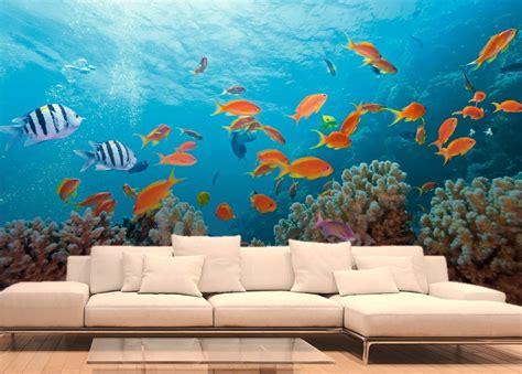 decoration pour chambre poissons exotiques et coraux papier peint fonds marins