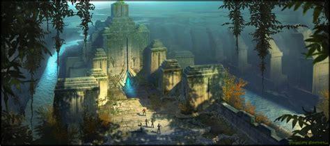 sci fi temple ruins art id  art abyss