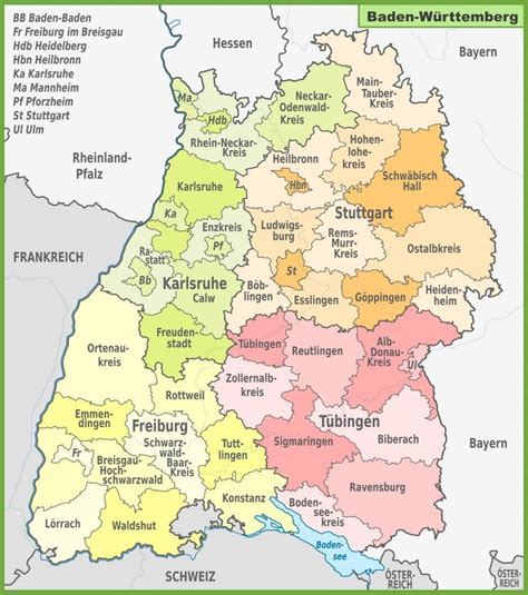 The map shows germany and surrounding countries with international borders, the national capital berlin, capitals of states (bundesländer), major cities, main roads, railroads, and major airports. Administrative divisions map of Baden-Württemberg ...