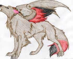 Anime Winged Wolf Drawing Colored