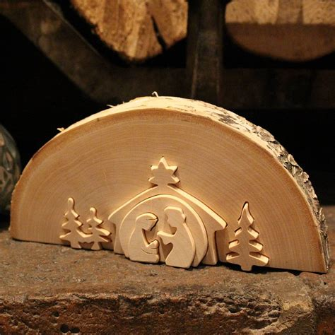 traditional large wooden nativity scene  nest notonthehighstreetcom