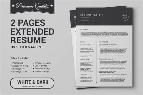 Pages Resume Templates by 2 Pages Resume Cv Extended Pack Design Cuts