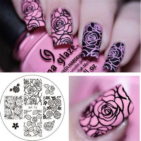 born pretty nail art stamping plates rose pattern manicure